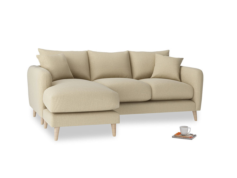 Large left hand Squishmeister Chaise Sofa in Hopsack Bamboo Softie