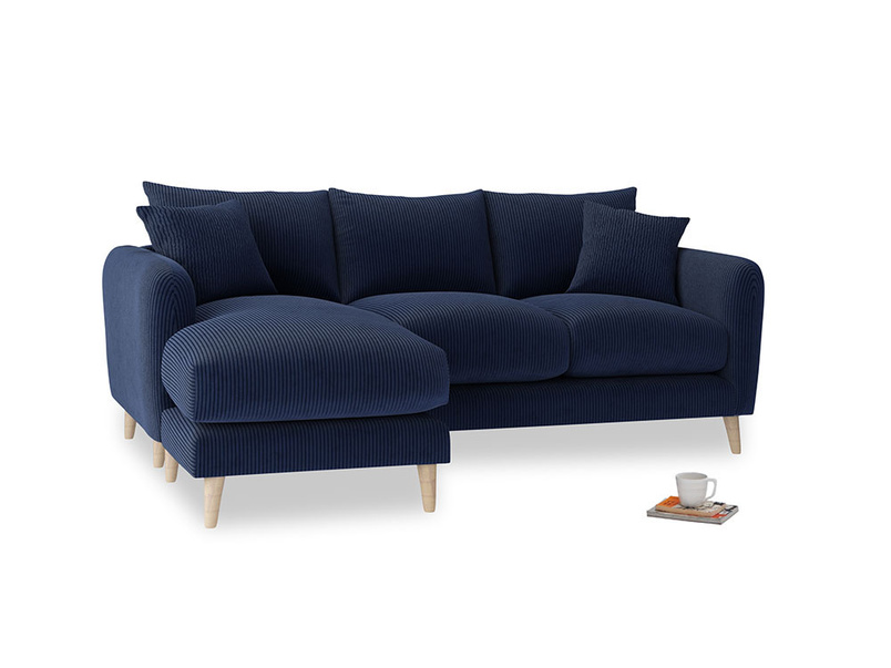 Large left hand Squishmeister Chaise Sofa in Indian Blue Clever Cord
