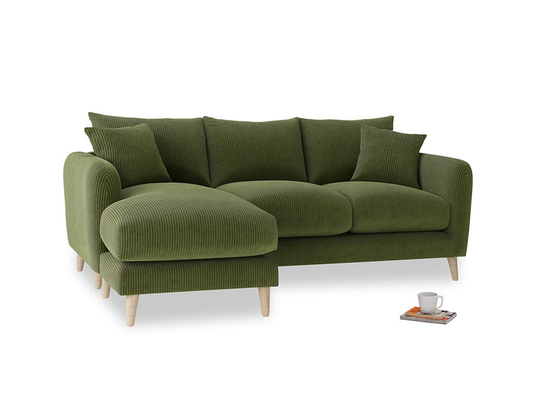 Large left hand Squishmeister Chaise Sofa in Leafy Green Clever Cord