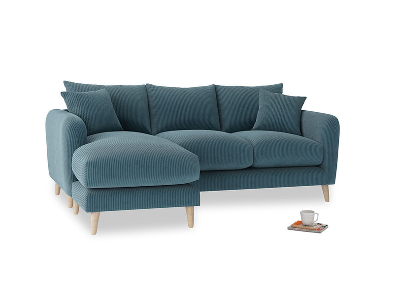 Large left hand Squishmeister Chaise Sofa in Lovely Blue Clever Cord