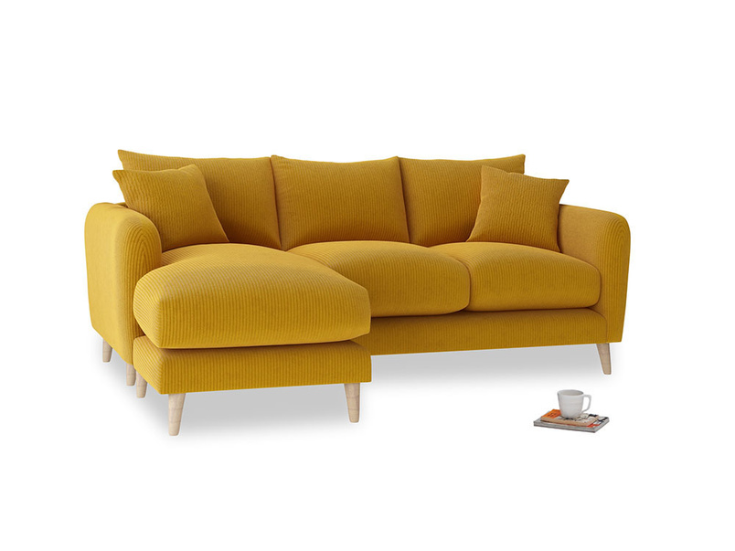 Large left hand Squishmeister Chaise Sofa in Saffron Yellow Clever Cord