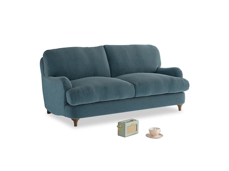 Small Jonesy Sofa in Lovely Blue Clever Cord