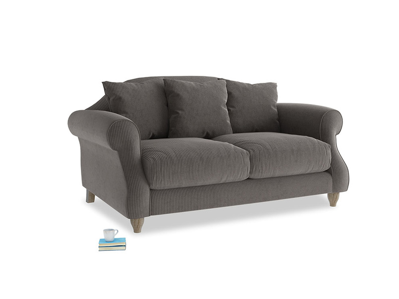 Small Sloucher Sofa in Everyday Grey Clever Cord