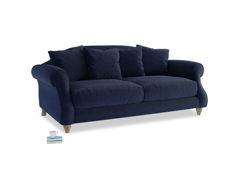 Medium Sloucher Sofa in Indian Blue Clever Cord