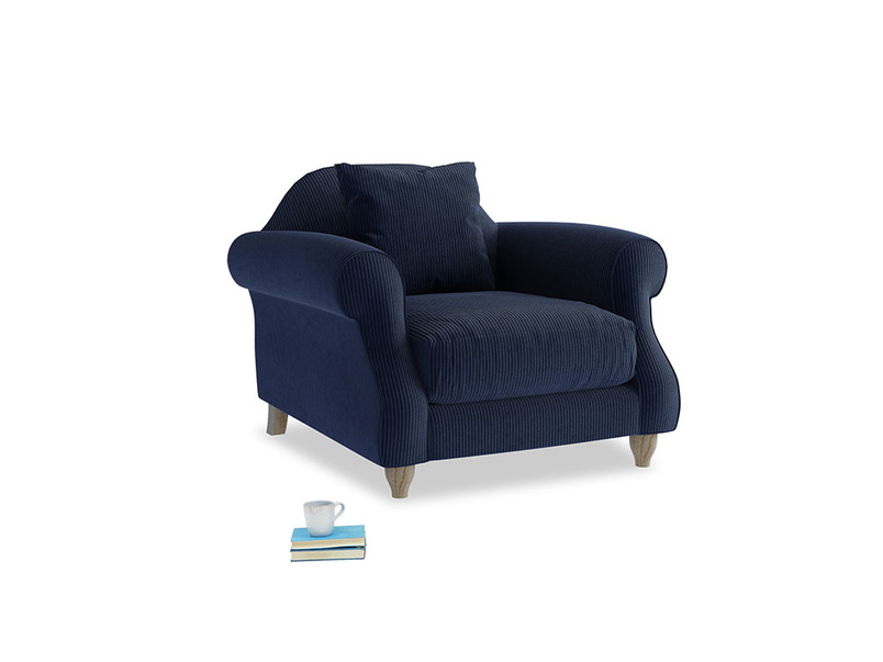 Sloucher Armchair in Indian Blue Clever Cord