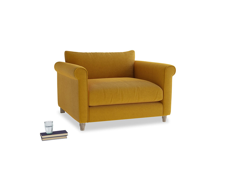 Weekender Love seat in Saffron Yellow Clever Cord