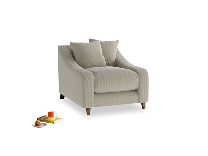 Oscar Armchair in Blighty Grey Clever Cord