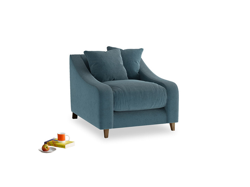 Oscar Armchair in Lovely Blue Clever Cord