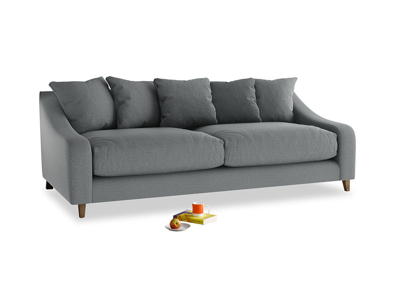 Large Oscar Sofa in Cornish Grey Bamboo Softie