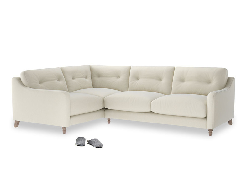 Large Left Hand Slim Jim Corner Sofa in Alabaster Bamboo Softie