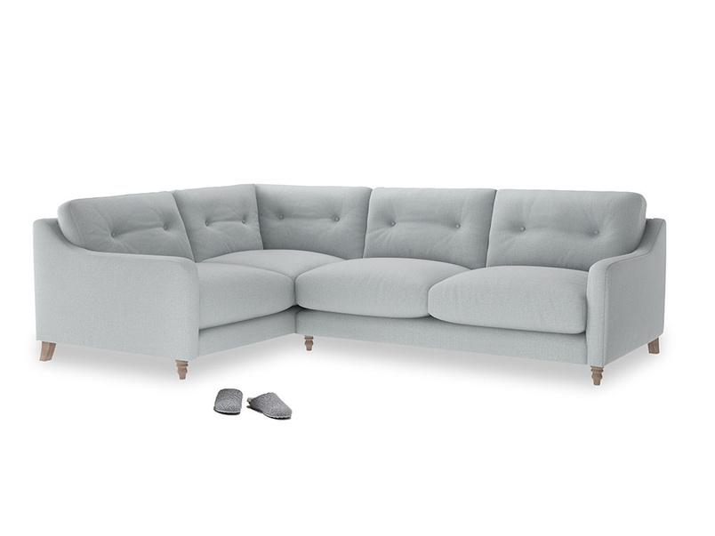 Large Left Hand Slim Jim Corner Sofa in Gull Grey Bamboo Softie