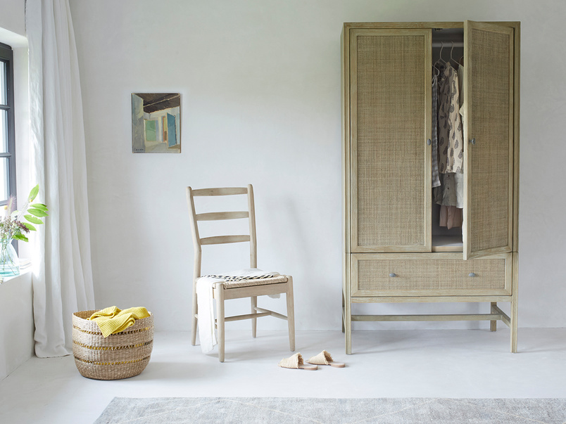 Willow woven wooden bedroom furniture