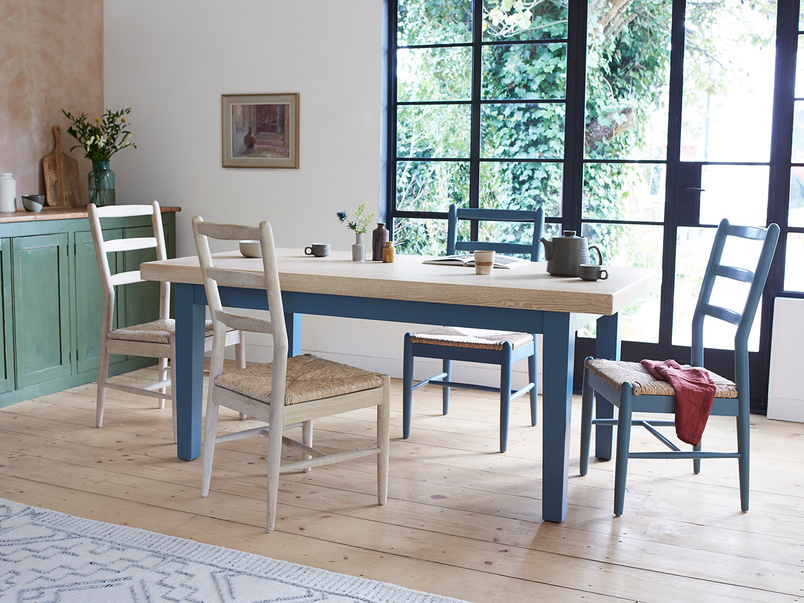 Pantry painted blue dining table
