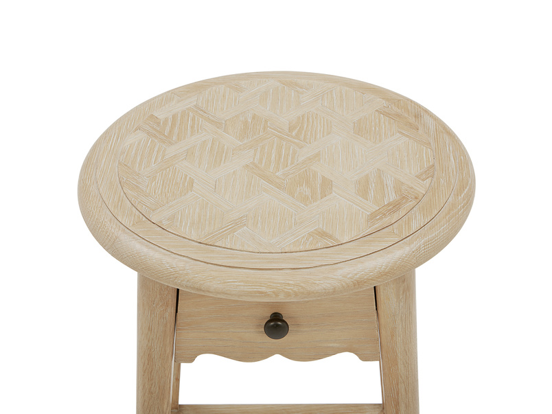 Agatha wooden bedside table parquet detail