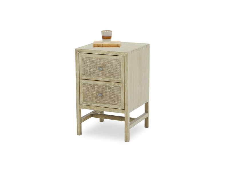 Little Willow rattan wooden side table angled front view with prop