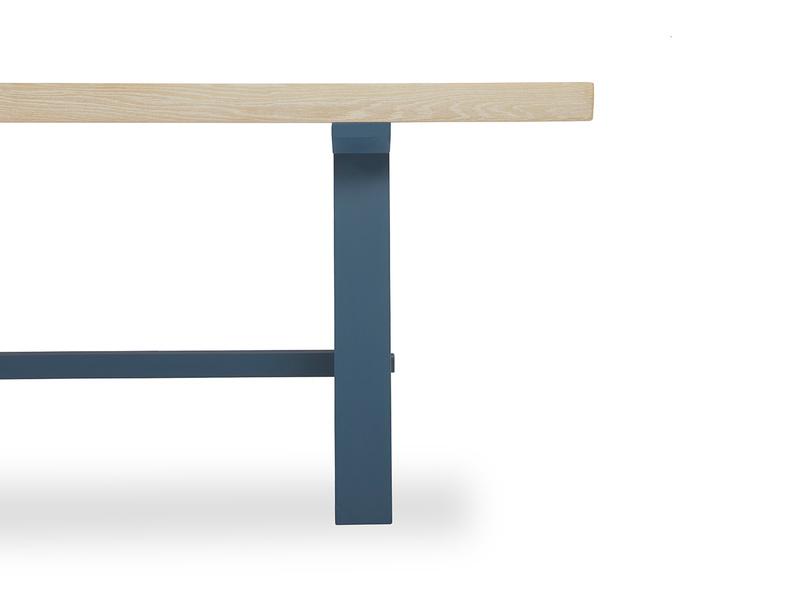 Trestle Kitchen Table in Blue Leg Detail