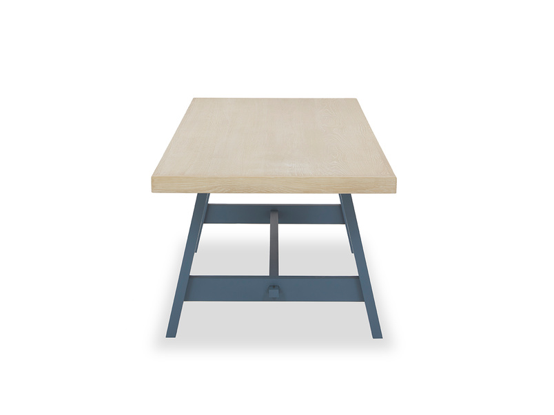 Trestle Kitchen Table in Blue Vertical View