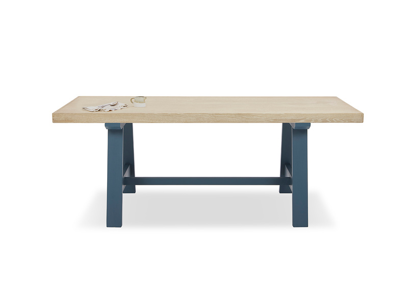 Trestle Kitchen Table in Heritage Blue with Thick Oak Top