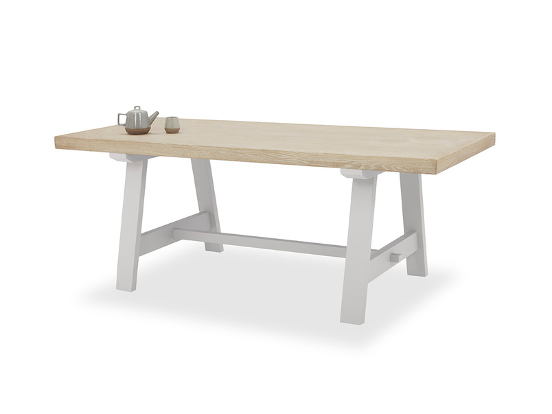 Trestle Dining Table in Grey with Thick Oak Top