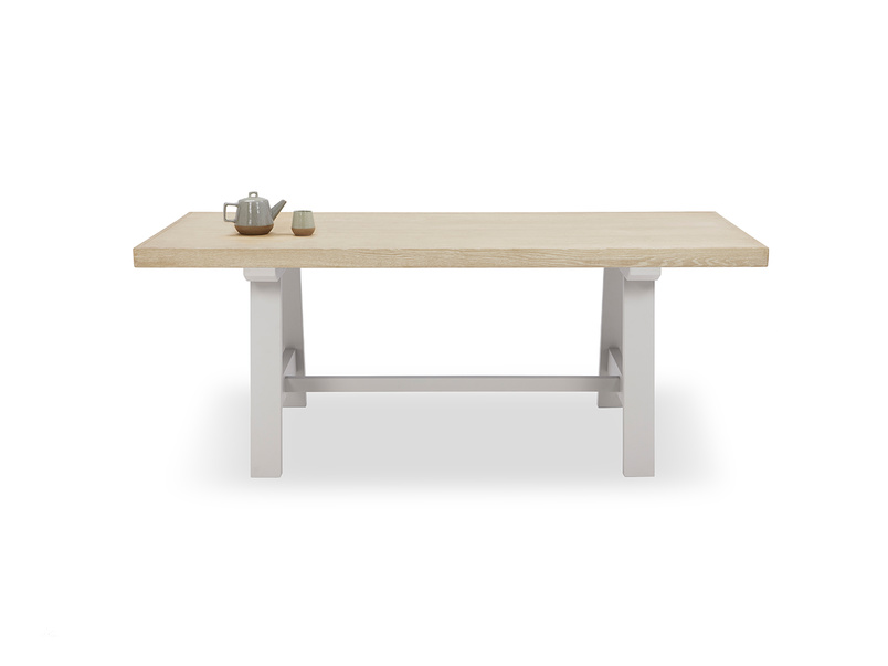 Trestle Kitchen Table in Grey with Oak Top