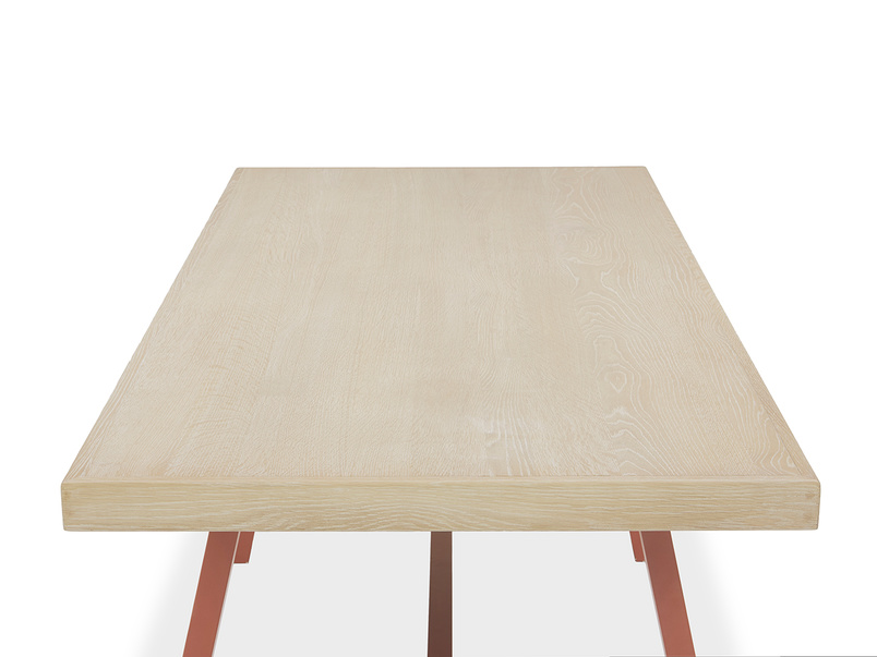 Trestle Dining Table in Earthy Red Top View