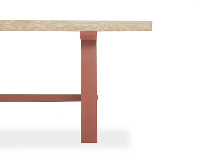 Trestle Kitchen Table in Earthy Red Leg Detail