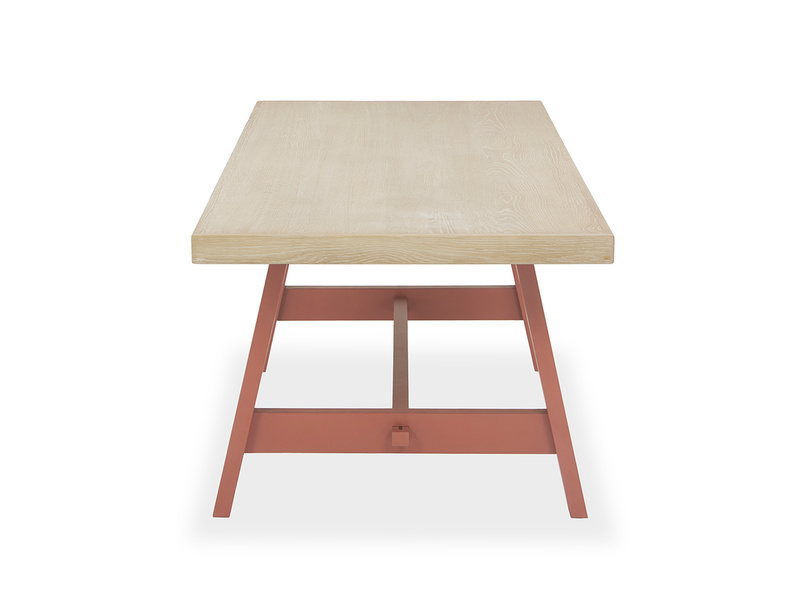 Trestle Kitchen Table in Earthy Red Vertical View