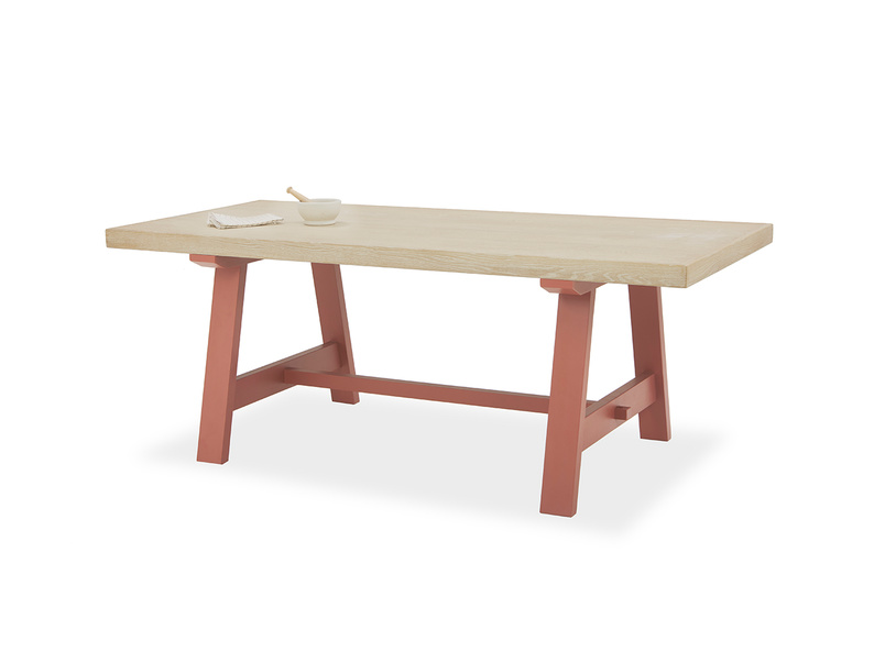 Trestle Kitchen Table in Earthy Red