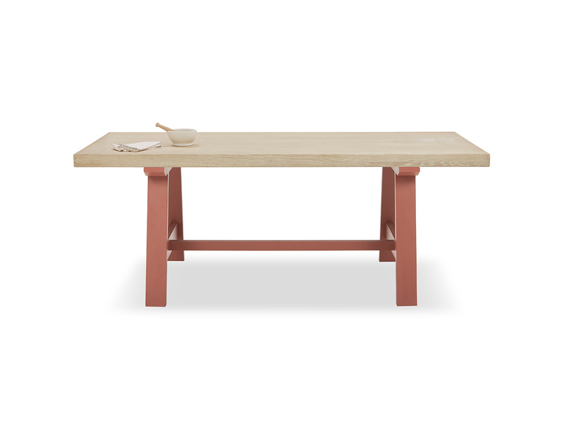 Trestle Kitchen Table in Earthy Red with Thick Oak Top