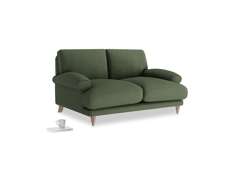 Small Slowcoach Sofa in Forest Green Clever Linen