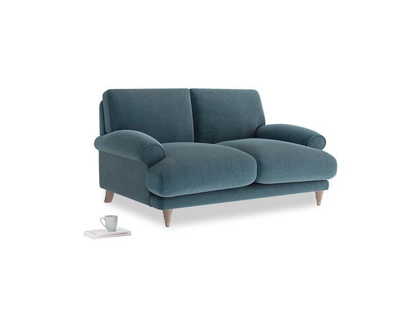 Small Slowcoach Sofa in Lovely Blue Clever Cord