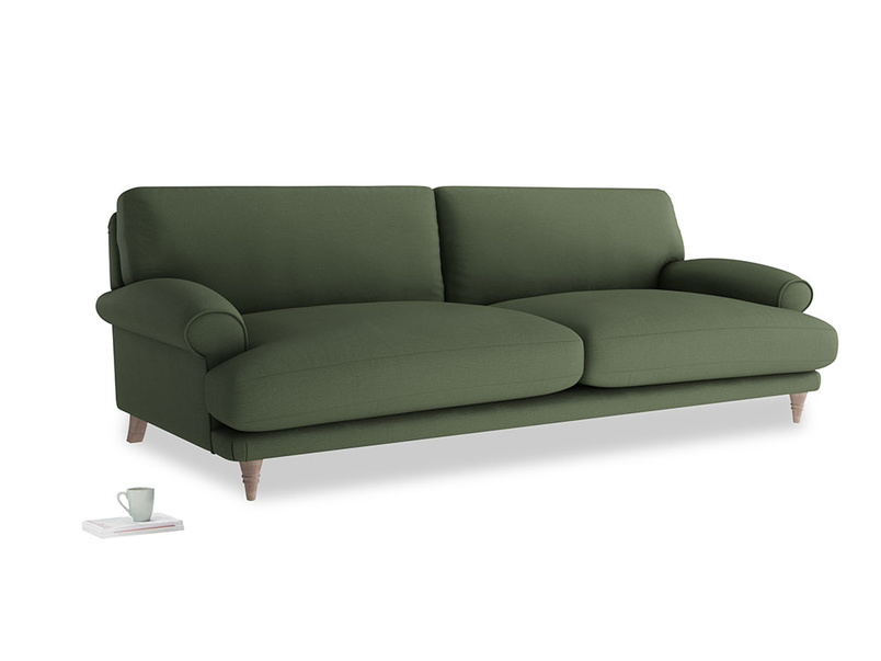 Extra large Slowcoach Sofa in Forest Green Clever Linen