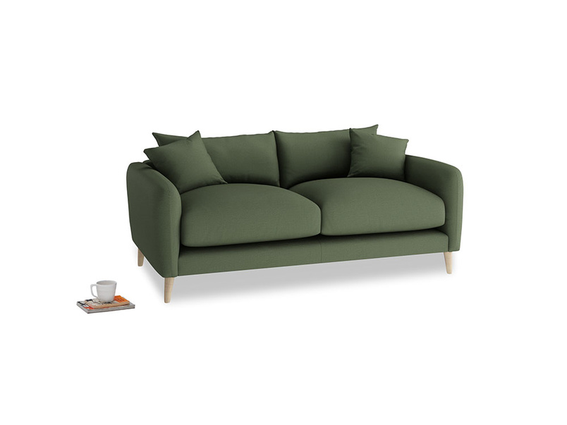 Small Squishmeister Sofa in Forest Green Clever Linen