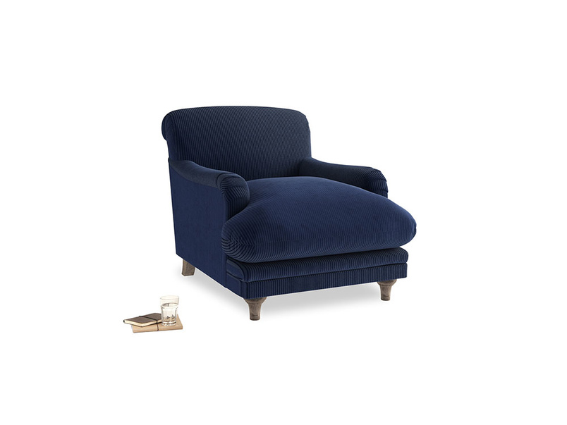 Pudding Armchair in Indian Blue Clever Cord