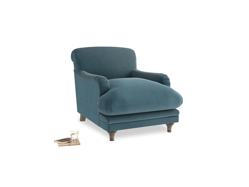 Pudding Armchair in Lovely Blue Clever Cord