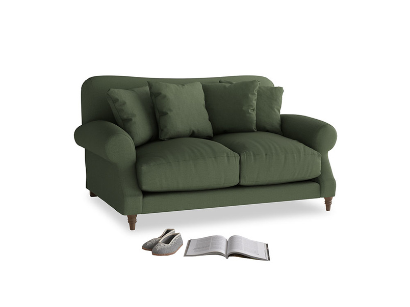 Small Crumpet Sofa in Forest Green Clever Linen