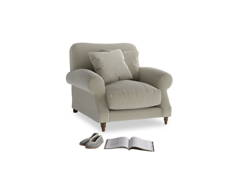 Crumpet Armchair in Blighty Grey Clever Cord