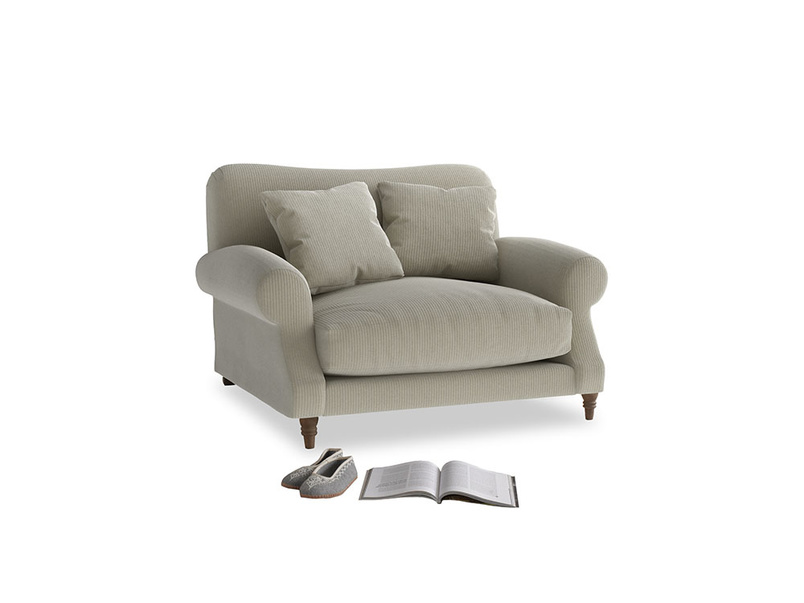 Crumpet Love seat in Blighty Grey Clever Cord