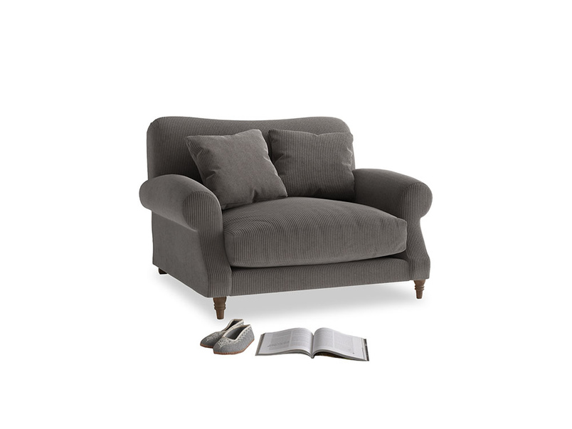 Crumpet Love seat in Everyday Grey Clever Cord
