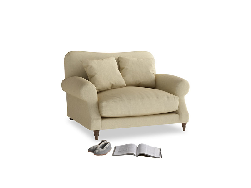 Crumpet Love seat in Parchment Clever Linen