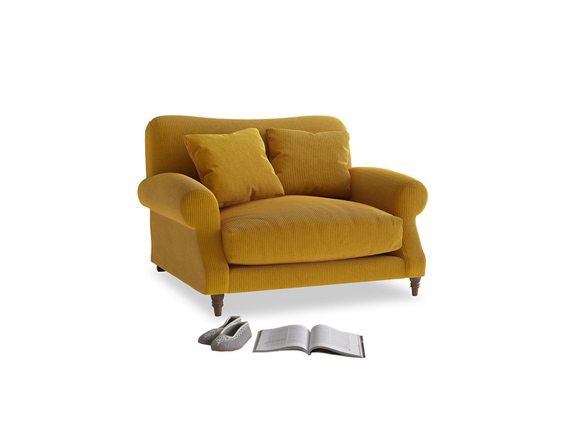 Crumpet Love seat in Saffron Yellow Clever Cord