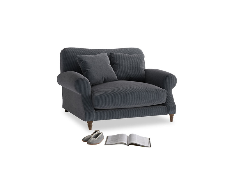 Crumpet Love seat in Scandi grey Clever Cord