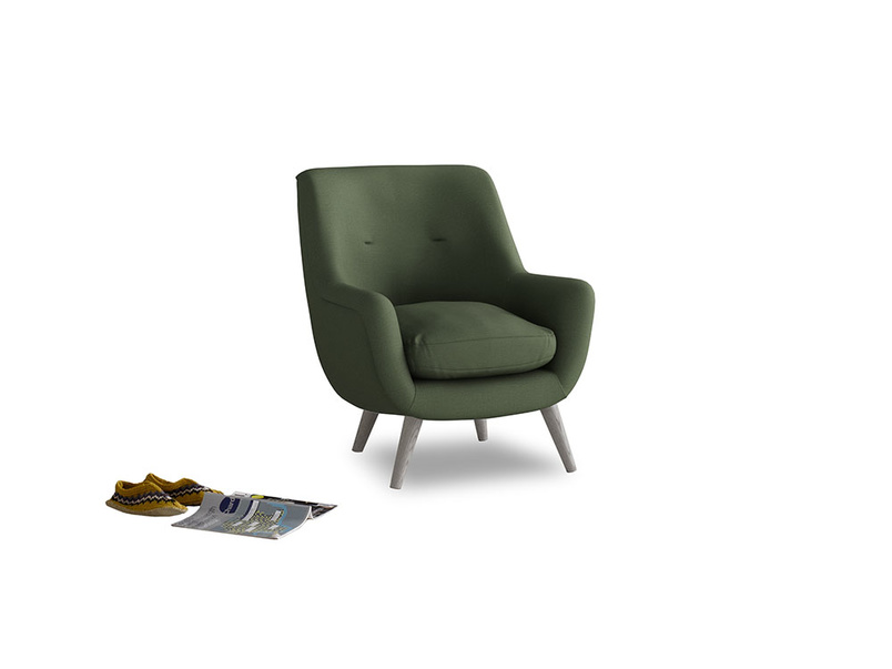 Berlin Armchair in Forest Green Clever Linen