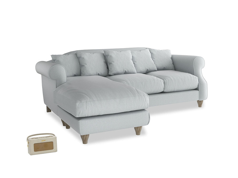Large left hand Sloucher Chaise Sofa in Gull Grey Bamboo Softie