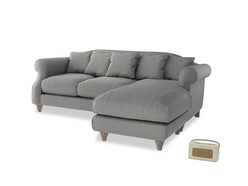 Large right hand Sloucher Chaise Sofa in Cloudburst Bamboo Softie