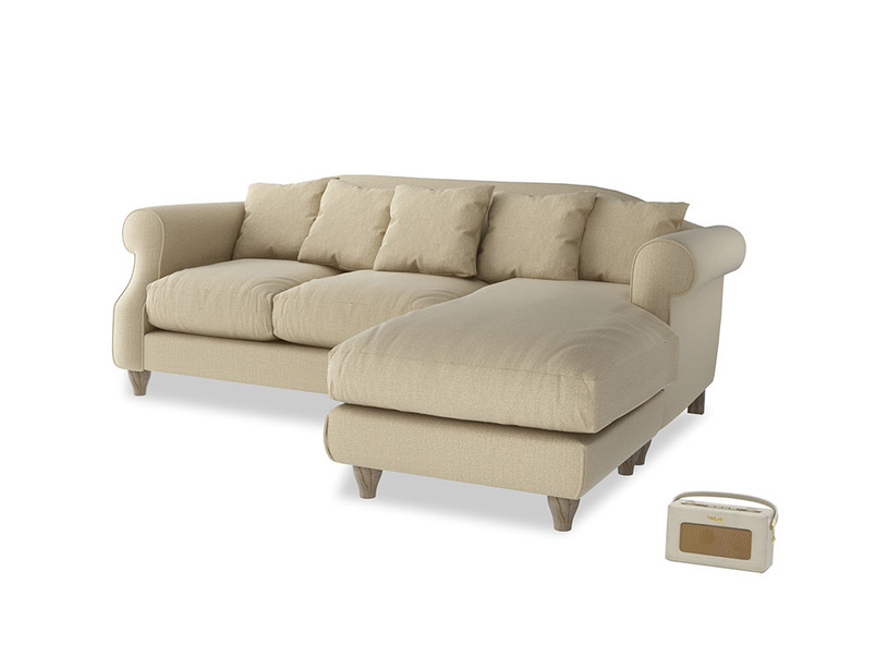 Large right hand Sloucher Chaise Sofa in Hopsack Bamboo Softie
