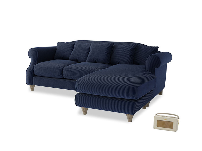 Large right hand Sloucher Chaise Sofa in Indian Blue Clever Cord