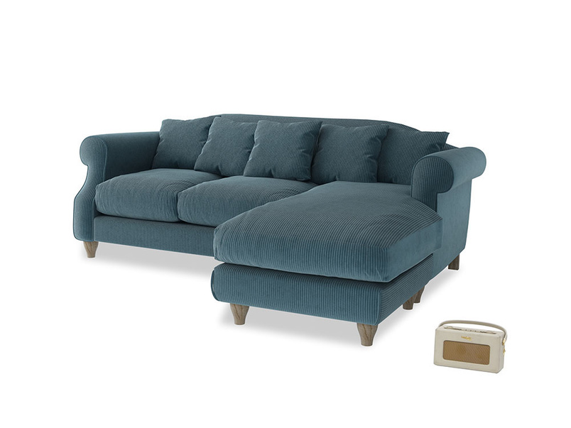 Large right hand Sloucher Chaise Sofa in Lovely Blue Clever Cord
