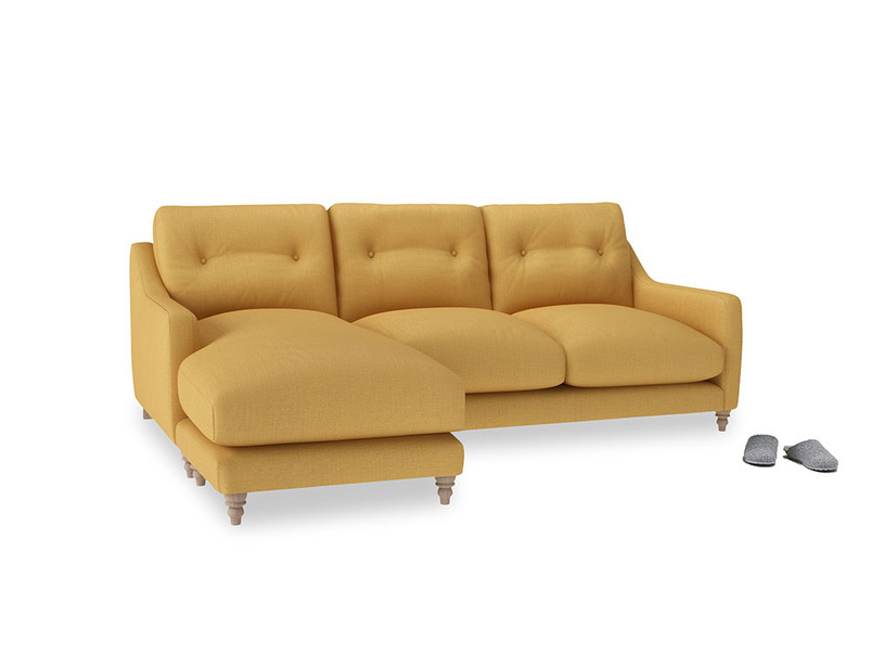Large left hand Slim Jim Chaise Sofa in Dorset Yellow Clever Linen
