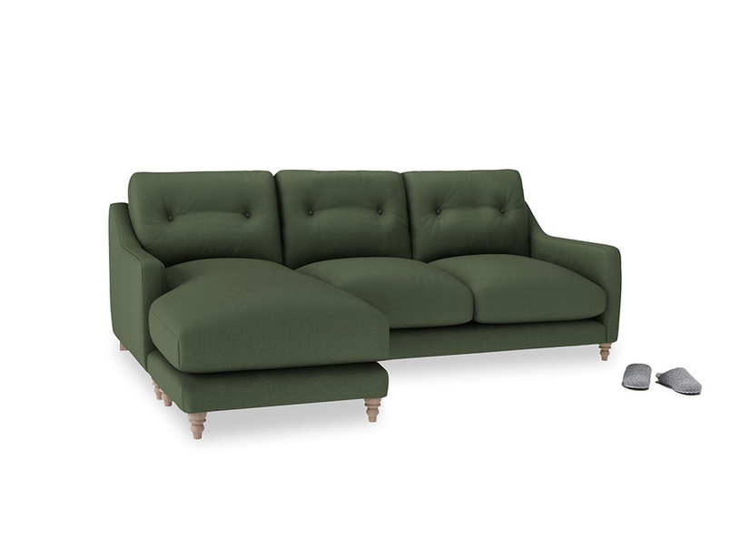 Large left hand Slim Jim Chaise Sofa in Forest Green Clever Linen